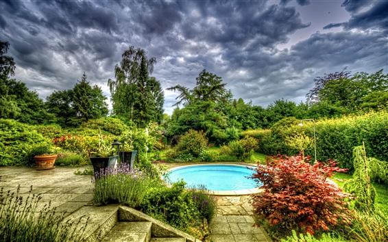 Wallpaper Garden, pool, trees, flowers, clouds