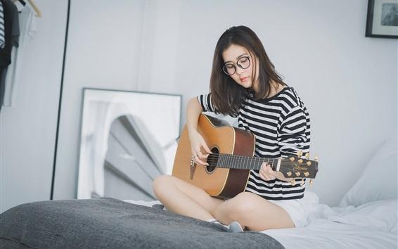 Wallpaper Girl play guitar sit on bed, Asian girl, glasses