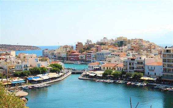 Wallpaper Greece, bay, houses