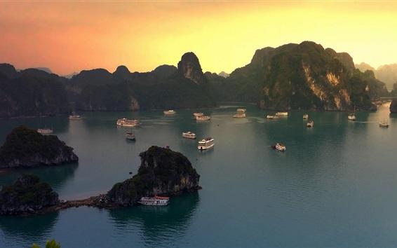 Wallpaper Halong Bay, Vietnam, boats, mountains, sunset
