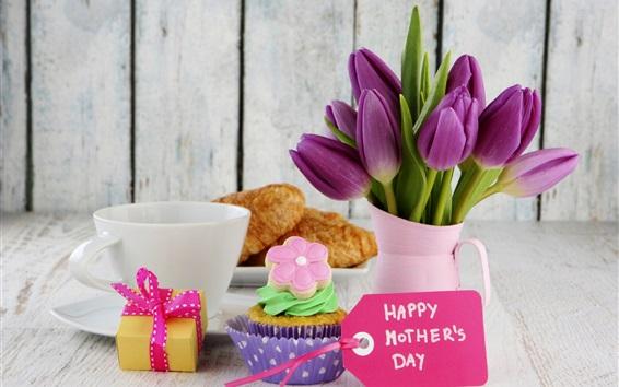 壁紙 ハッピー母の日、クロワッサン、ケーキ、チューリップの花