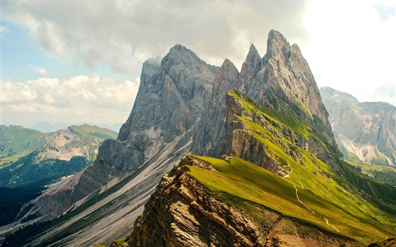 Wallpaper High mountains, slope, clouds, nature landscape
