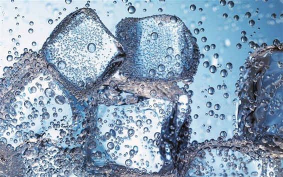 Wallpaper Ice cubes in water, bubbles