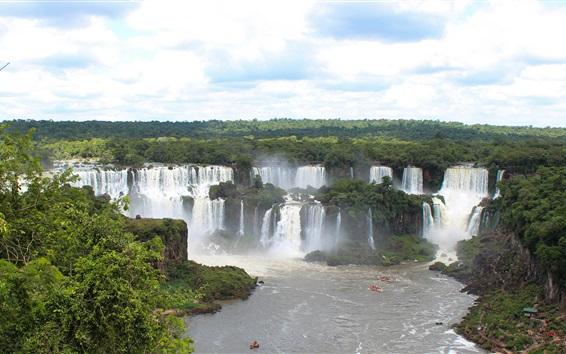 Fond d'écran Chutes d'Iguazu, beau paysage de la nature, des cascades, des bateaux