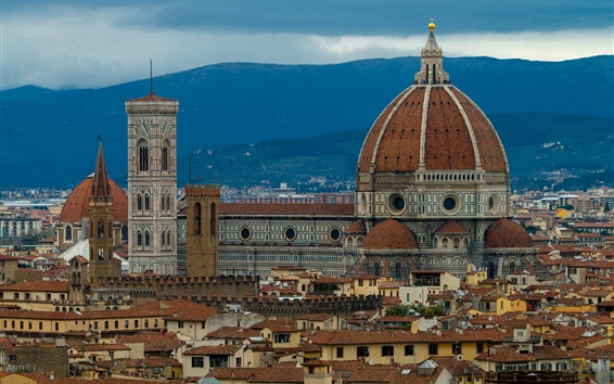 Wallpaper Italy, Florence, cathedral, houses, dusk