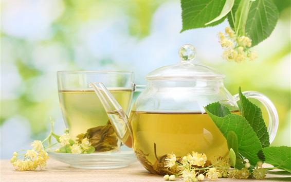 Wallpaper Jasmine tea, teapot, saucer, cup, drink, flowers