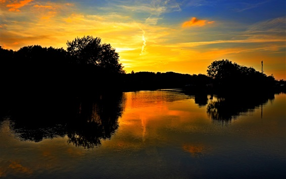 Wallpaper Lake, trees, sunset, clouds