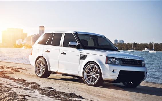 Wallpaper Land Rover white car at city beach