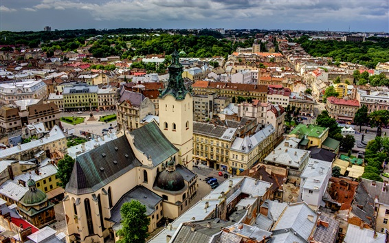 Wallpaper Latin Cathedral, Ukraine, city, roof, houses, clouds