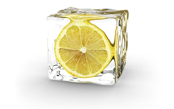 Wallpaper Lemon ice cube, white background