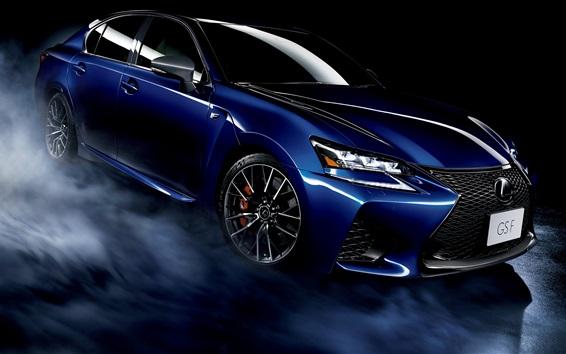 Обои Lexus GS F синий автомобиль, дым, черный фон