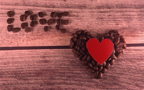 Wallpaper Love heart, coffee beans, romantic