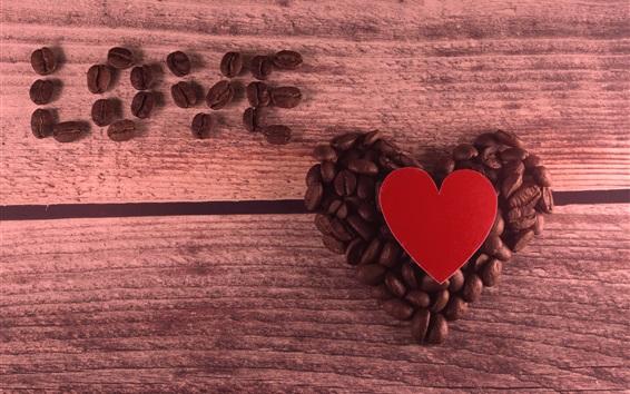 Papéis de Parede Amor do coração, grãos de café, romântico