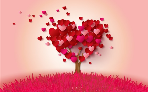 Wallpaper Love hearts tree, pink and red, romantic style