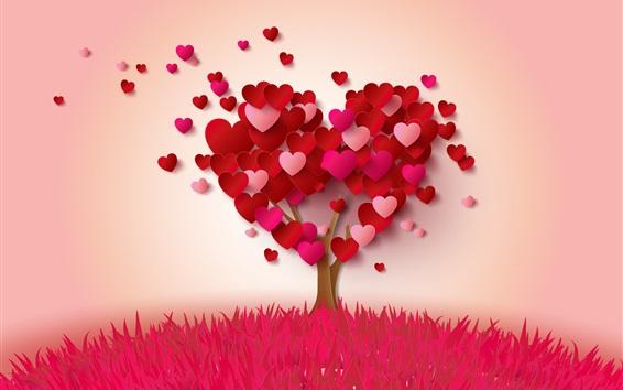 Обои Любовь сердца дерево, розовый и красный, романтический стиль
