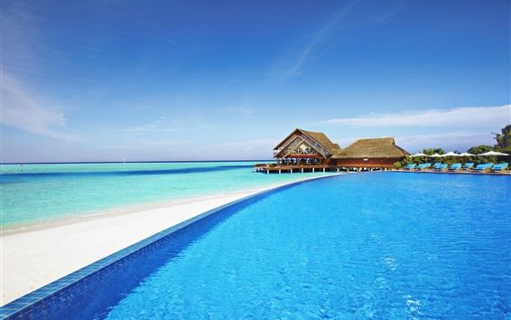 Wallpaper Maldives, hotel, pool, resort, sea