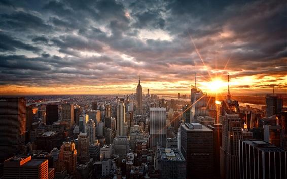 Обои Манхэттен, Нью-Йорк, США, небоскребы, рассвет, восход солнца