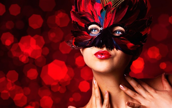 Fondos de pantalla mascarada, máscara, plumas, maquillaje chica, labios rojos
