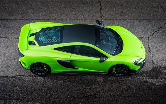 Wallpaper McLaren 675LT green car top view