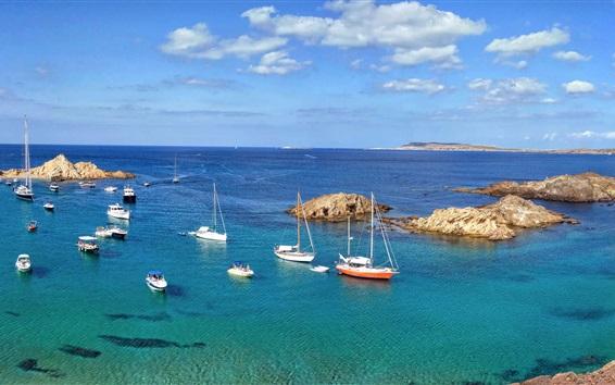 Обои Minorque, море, остров, лодки, Испания