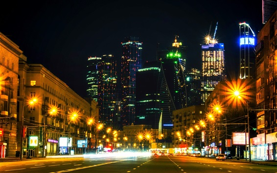 Wallpaper Moscow city night, Russia, road, houses, skyscrapers, lights, illumination