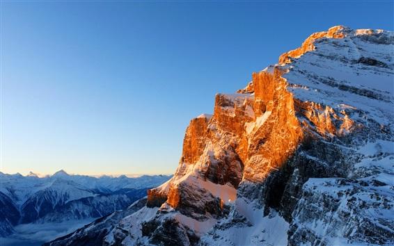 Wallpaper Mountains, snow, sunlight