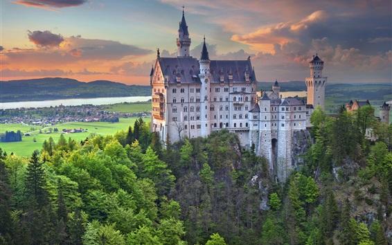 Papéis de Parede Castelo de Neuschwanstein, na Alemanha, Bayern, árvores, crepúsculo, nuvens