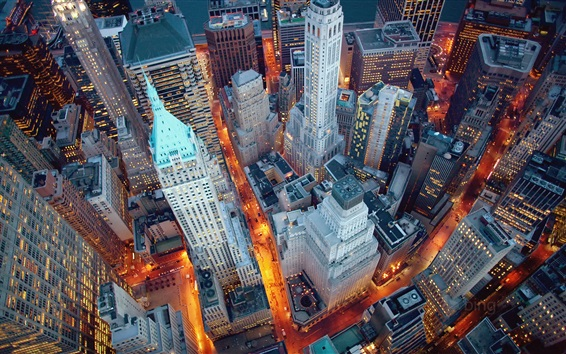 Papéis de Parede New York, Manhattan, EUA, noite, luzes, arranha-céus