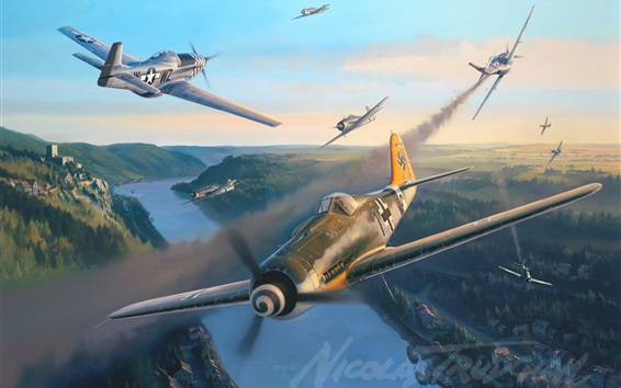 Wallpaper Nicolas Trudgian, German fighter, art painting