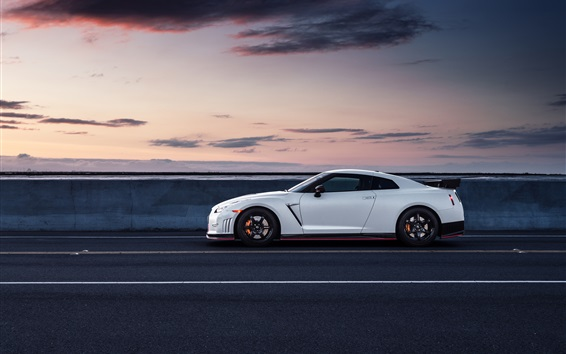 Wallpaper Nissan GT-R R35 white car side view