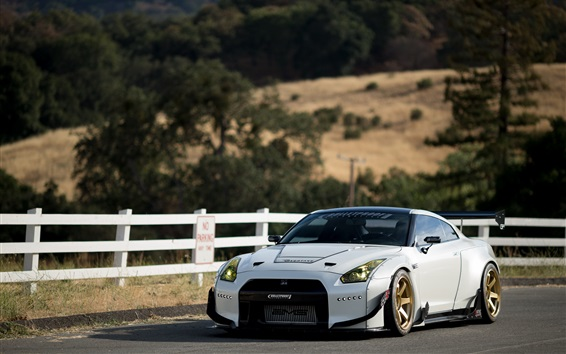 Wallpaper Nissan GT-R white supercar front view