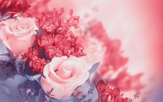 Wallpaper Pink flowers, rose, petals, buds