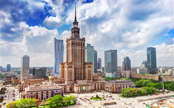 Wallpaper Poland, Warsaw, city, Palace of science, skyscrapers, clouds