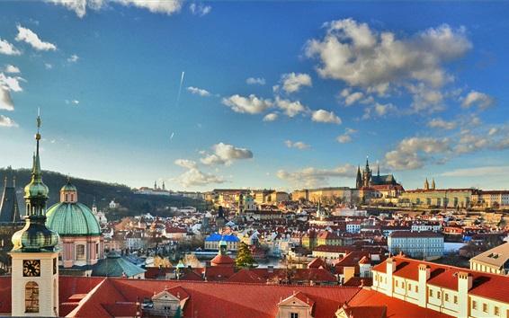 Wallpaper Prague, Czech Republic, city, buildings, houses, clouds