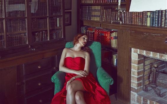 Fond d'écran Robe rouge fille dormir dans le canapé