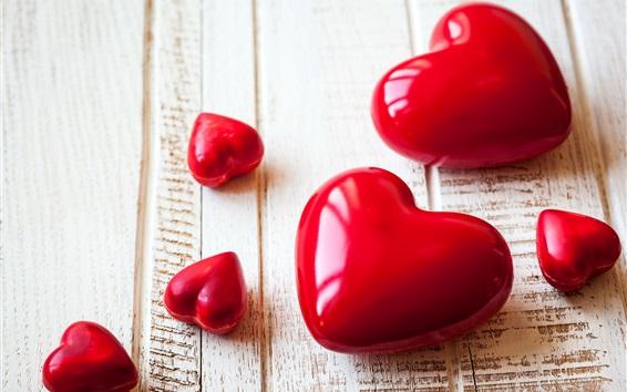 Papéis de Parede corações vermelhos do amor, placa de madeira