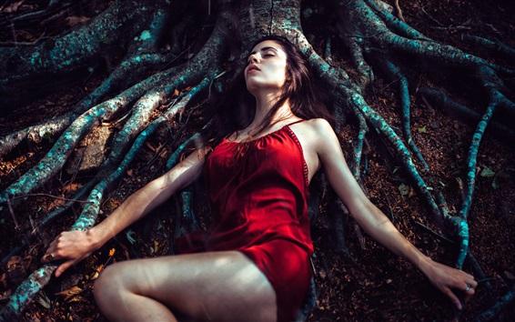Wallpaper Red skirt girl asleep under the tree