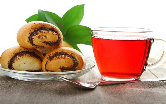 Wallpaper Red tea, bread, spoon