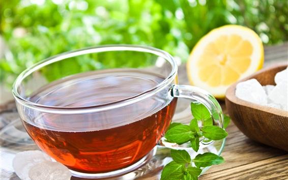 Wallpaper Red tea, glass cup, mint, lemon, sugar
