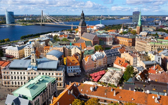 Papéis de Parede Riga, Latvia, cidade, casas, ponte, rua, rio