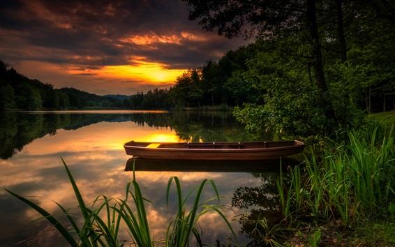 Wallpaper River, sunset, trees, red sky, boat, bushes