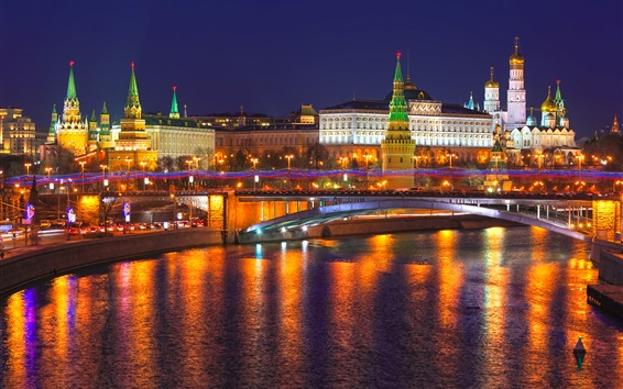 Wallpaper Russia, Moscow, Kremlin, city night, lights, river