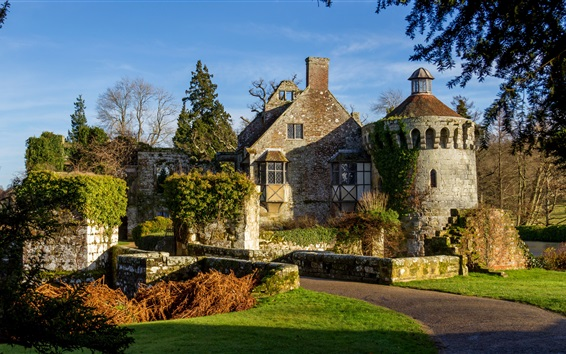Wallpaper Scotney Castle, England, trees, grass, sunshine