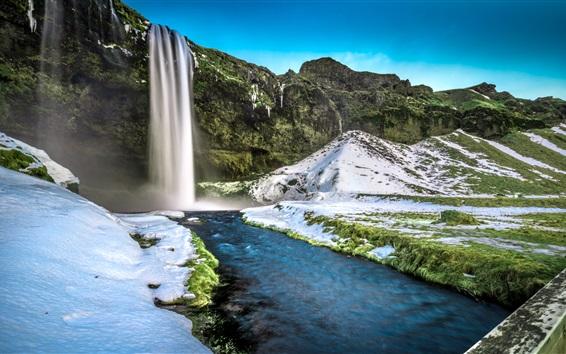 Обои Seljalandsfoss Водопад в Исландии, снег, вода