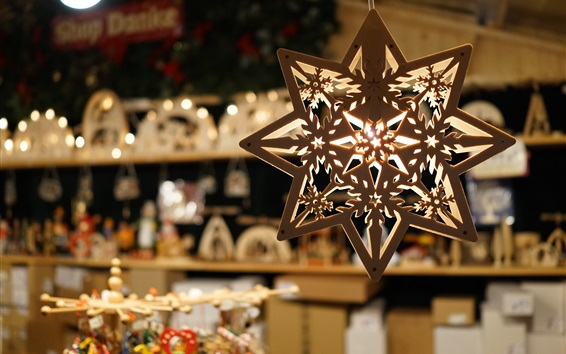 Wallpaper Shop decoration pendant, octagonal wood hanging lights