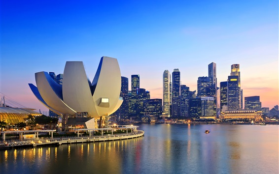 Wallpaper Singapore in dawn, skyscrapers, coast, bay, lotus buildings