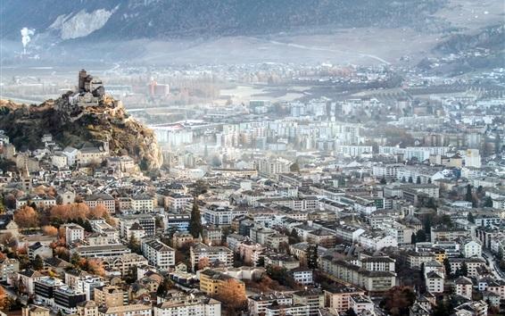 Papéis de Parede Sion, Suíça, cidade, topo, vista