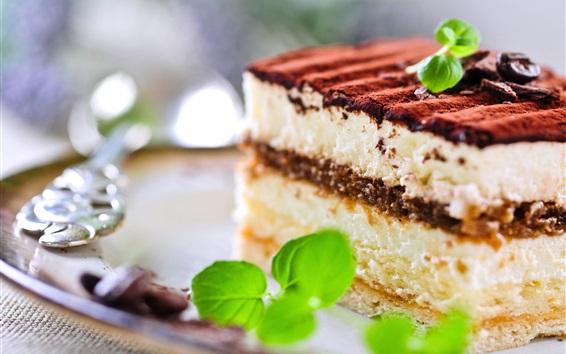 Wallpaper Snack, tiramisu, sweet cake, chocolate, mint, breakfast