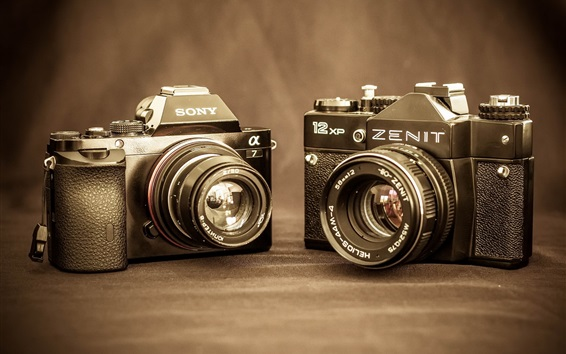 Wallpaper Sony A7 and Zenit 12 XP digital cameras