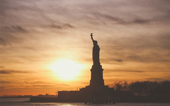 Wallpaper Statue of Liberty, sunset, sea, American